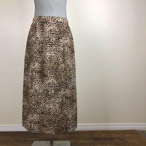 Vintage Animal Print Midi Skirt